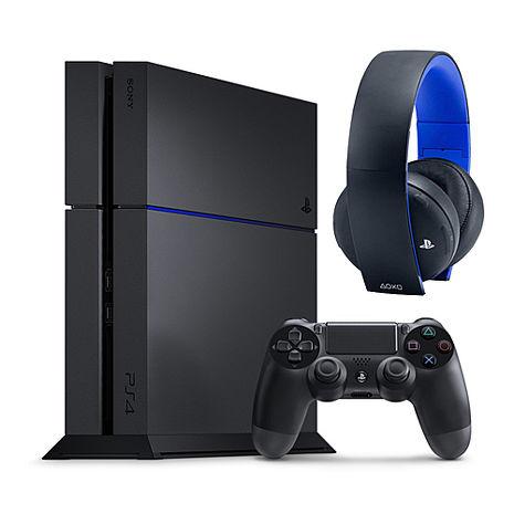 PS4 500G主機 極致黑+SONY (7.1 聲道)無線立體聲耳機組《贈:主機直立架+手把果凍套+類比套》