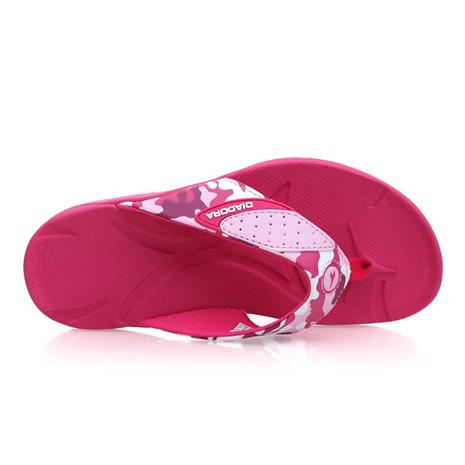 【DIADORA】女夾腳拖鞋-海邊 沙灘 人字拖鞋 休閒拖鞋 迷彩粉紅
