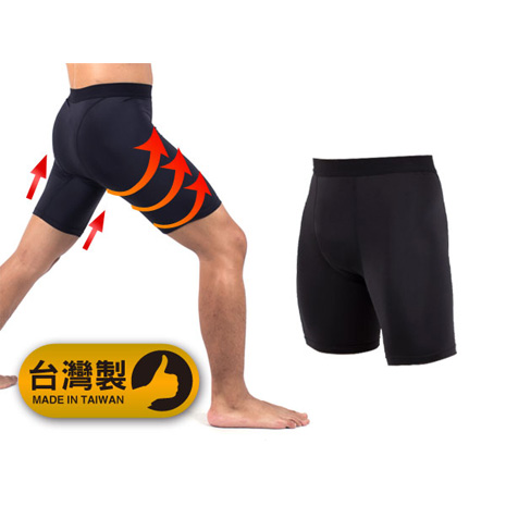 【PARABOLA】男緊身短褲-台灣製運動內搭褲同NIKE PRO版型  黑
