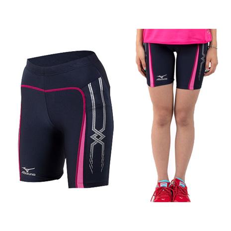 【MIZUNO】日本進口 男女緊身短褲-慢跑短褲 馬拉松  黑桃紅
