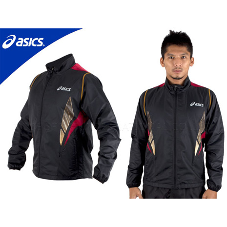 【ASICS】男立領風衣外套  黑紅