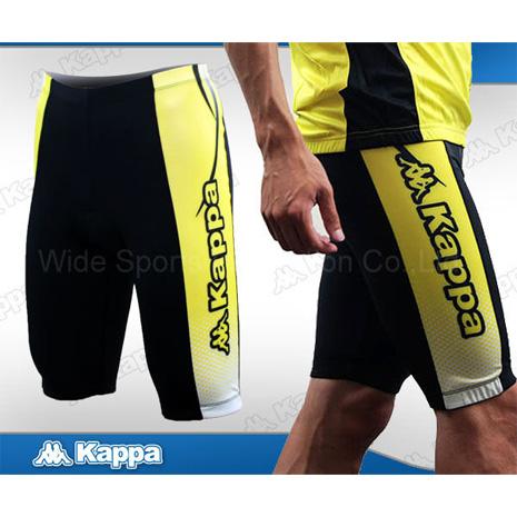 【KAPPA】男短車褲 -自行車褲 單車褲  黃