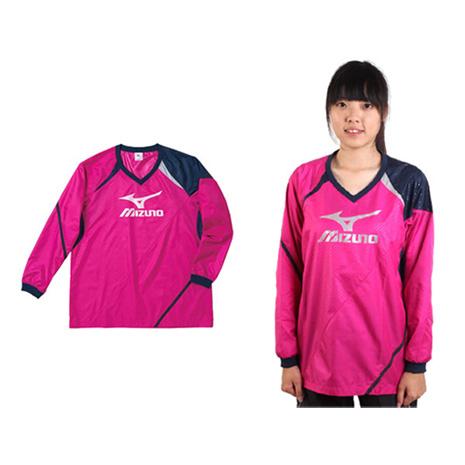 【MIZUNO】女長袖排球服-羽球 長袖T恤 暖身衣 美津濃 桃紅丈青銀