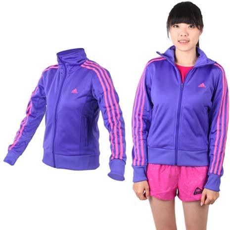 【ADIDAS】女運動外套- 立領 愛迪達 紫梅紅