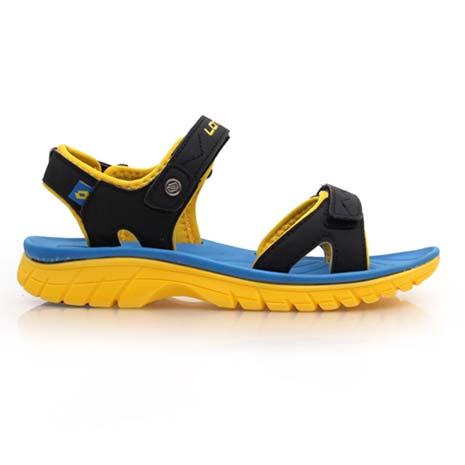 【LOTTO】男女大童運動涼鞋-童鞋 魔鬼氈 休閒涼鞋 磁扣 黑黃藍