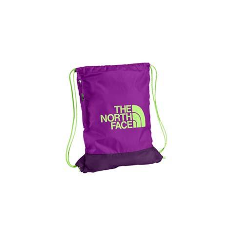 【THE NORTH FACE】多功能背袋-鞋袋 束口袋 後背包 雙肩包 紫淺綠