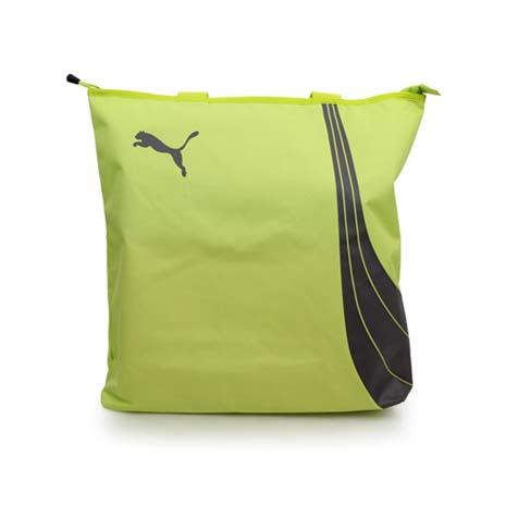 【PUMA】FUNDAMENTALS 購物袋-單肩包 手提包 芥末綠灰