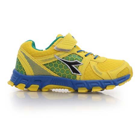 【DIADORA】男女中童越野慢跑鞋-路跑 童鞋 運動鞋 休閒鞋 黃藍