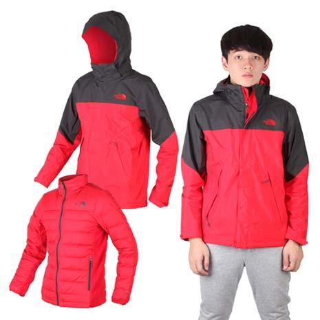 【THE NORTH FACE】男GT羽絨兩件式外套-保暖GORE-TEX 紅墨灰