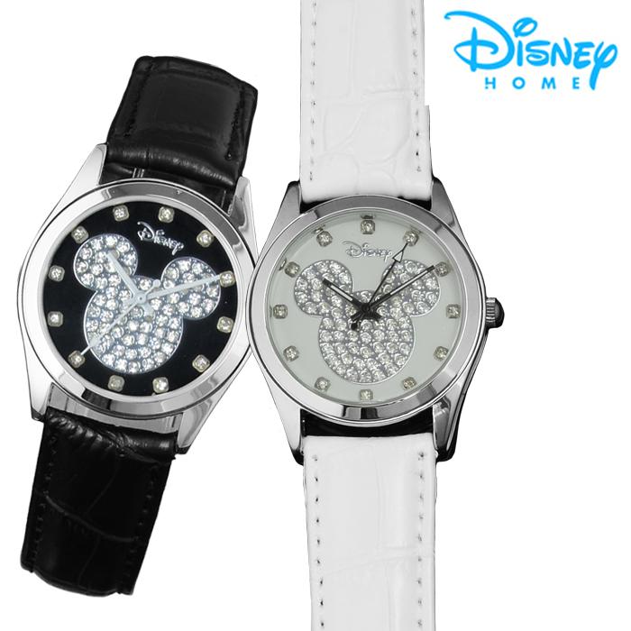 【Disney迪士尼】施華洛世奇米奇晶鑽皮革錶(兩色可選)