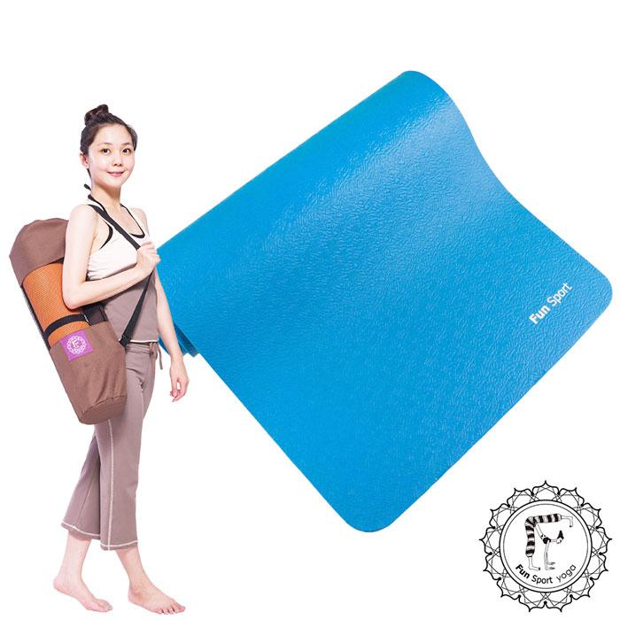 《Fun Sport》愛動派厚瑜珈墊運動墊加大款(10mm) (90精彩藍)NBR材質★送束帶+Easygo背袋