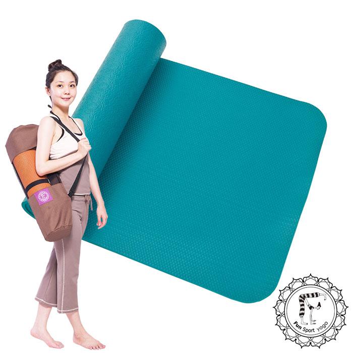 《Fun Sport》愛動派厚瑜珈墊運動墊加大款(10mm) (90深綠)NBR材質★送束帶+Easygo背袋