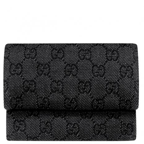 GUCCI 黑色小G復古式壓釦緹花織紋皮夾