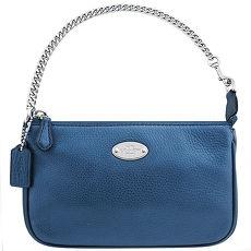 COACH 馬車皮革壓紋鍊帶手提包~藍色^(app^)