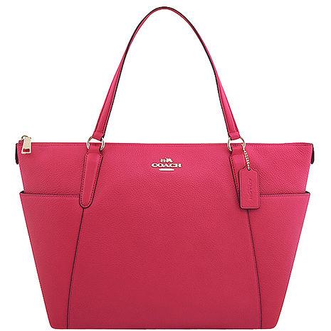 COACH 馬車皮革壓紋托特包(大型)-桃紅色