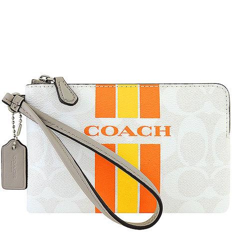 COACH 大C條紋PVC手拿包-白色(app)