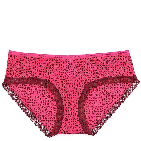 Calvin Klein 桃紅色豹紋蕾絲低腰內褲-M