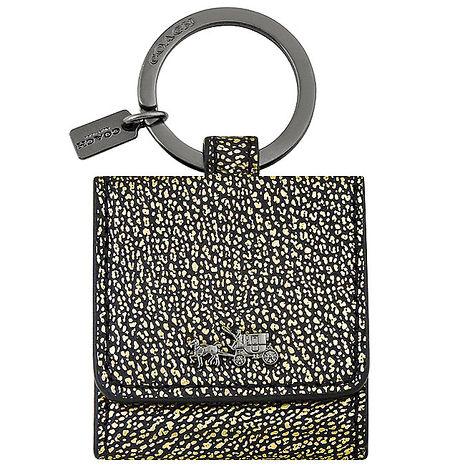 COACH 皮革壓紋相片鑰匙圈-古銅金色(APP)