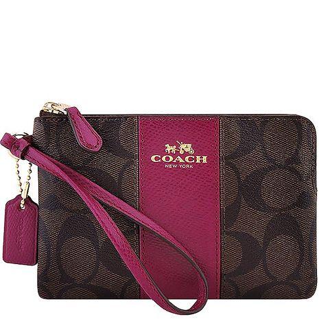 COACH 馬車大C PVC手拿包-紫紅色(APP)