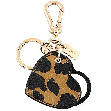 COACH 豹紋圖樣PVC鑰匙圈-咖啡色(APP)