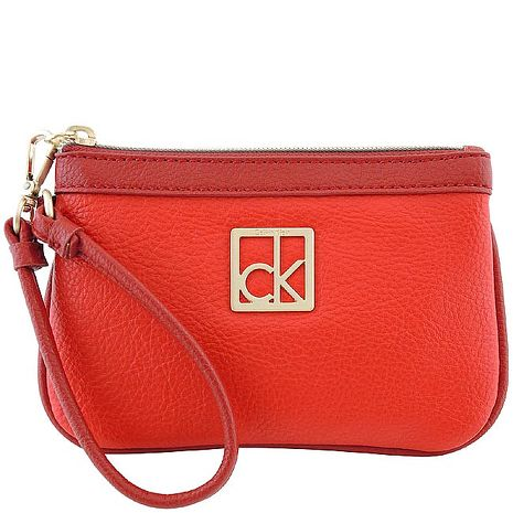 Calvin Klein 皮革壓紋手拿包-紅色(APP)