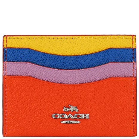 COACH 馬車防刮皮革證件名片夾-橘色(APP)