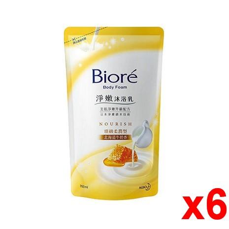蜜妮 淨嫩沐浴乳補充包-北海道牛奶香補充包700mlx6入/箱