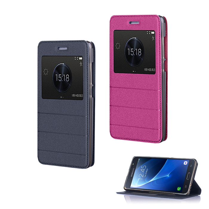 【YANG YI】揚邑Samsung Galaxy J7 2016版  金沙方窗車線側立智能APP休眠隱形磁扣皮套