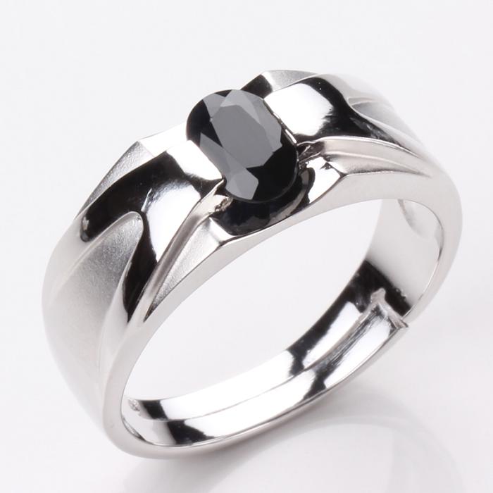 【雅紅珠寶】比翼雙飛天然1克拉黑藍寶石戒指-活動式戒圍