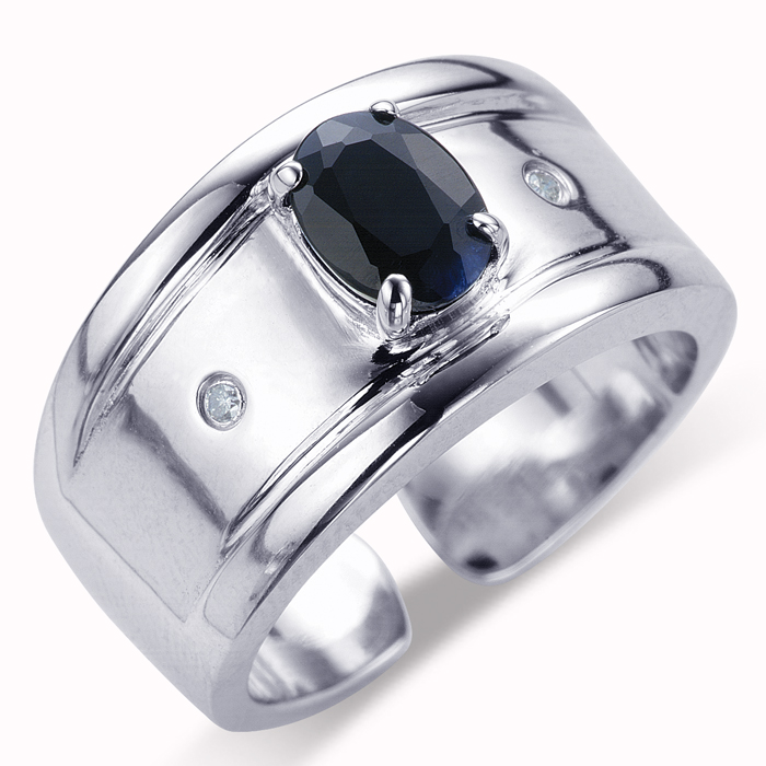 【雅紅珠寶】尊爵紳士天然1克拉黑藍寶石戒指-活圍設計