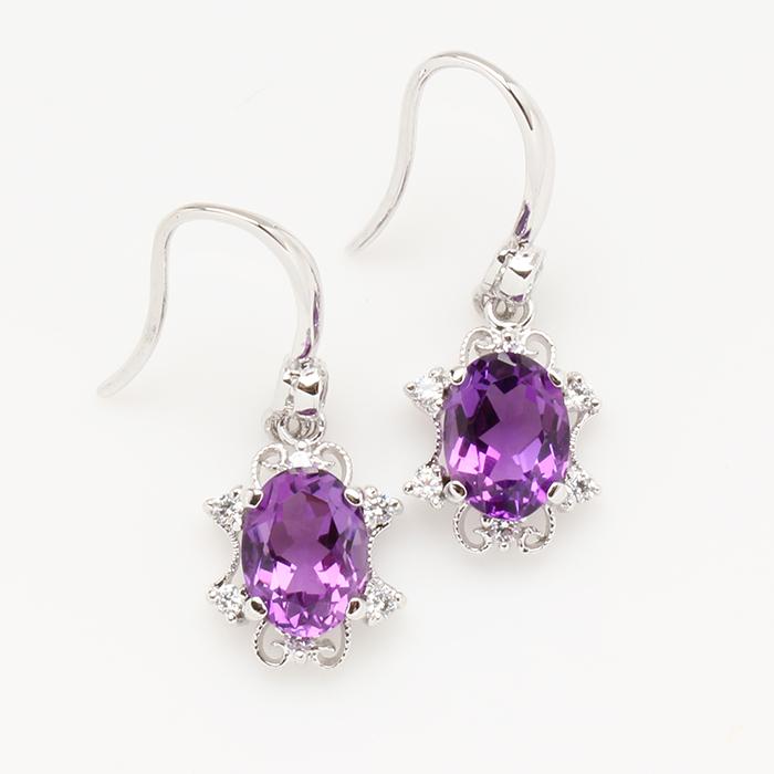 【雅紅珠寶】山明水秀天然紫水晶耳環-925銀飾