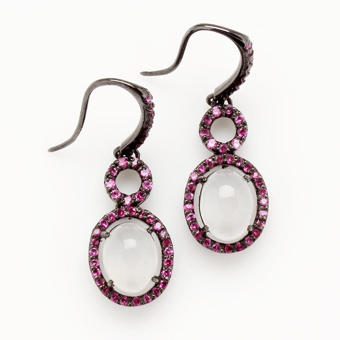 【雅紅珠寶】綽約多姿天然月光石耳環-925純銀飾