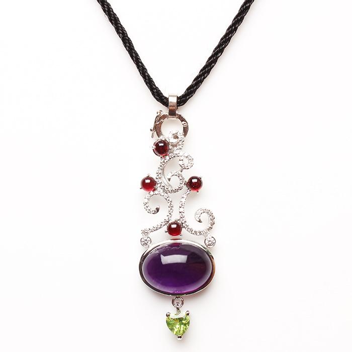 【雅紅珠寶】美女簪花天然紫水晶項鍊-925銀飾
