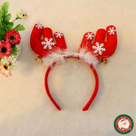 短版麋鹿角聖誕造型髮箍(帶羽毛+鈴噹+雪花)(大人小孩皆可戴)(2入裝)