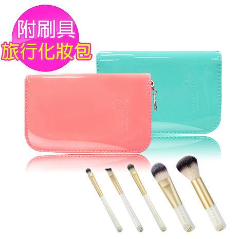 超柔軟刷毛 附鏡刷具組/化妝包/收納包  甜蜜5件組-福利品