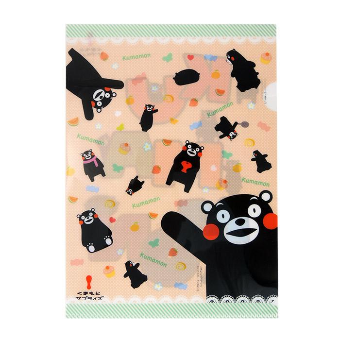 【酷ma萌 熊本熊 kumamon】A4 L夾- 繽紛黑熊/草莓花圈
