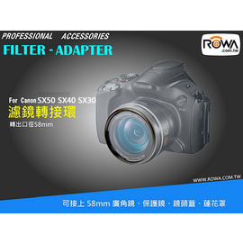 ROWA-JAPAN Canon SX50 SX40 SX30 SX20 SX10 SX1 IS專用超值組合 轉接環 + MCUV超薄多層鍍膜保護鏡 + 58mm中捏式鏡頭蓋