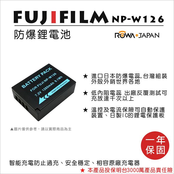 ROWA 樂華 For FUJIFILM NP-W126 NPW126 電池 外銷日本 原廠充電器可用 全新 保固一年 X-T1 X-E2 X-A1 X-M1 X-E1