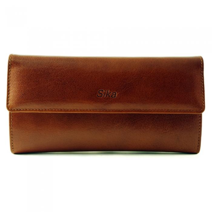 Sika - 義大利時尚真皮長夾A8201-01 - 原味褐