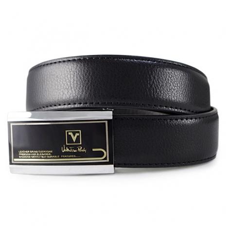Valentino Rudy 黑面金邊帶頭細魚鱗紋牛皮紳士針扣皮帶A3-304-黑色