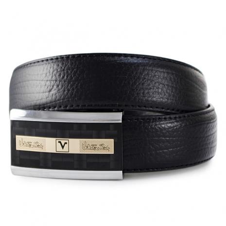 Valentino Rudy 黑方格帶頭鱷魚紋牛皮紳士針扣皮帶A3-302-黑色