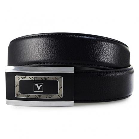 Valentino Rudy 框中框帶頭細魚鱗紋牛皮紳士針扣皮帶A3-305-黑色