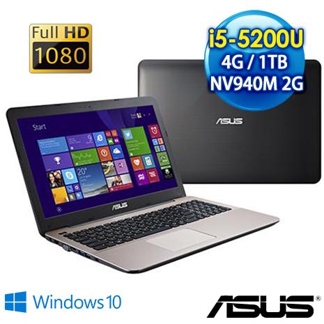 【瘋狂特殺】ASUS X555LB-0171A5200U 15.6吋輕薄效能筆電FHD(i5-5200U/4G/1TB/GT940M 2G/Win10)