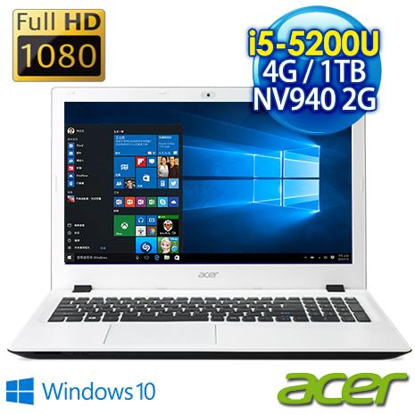 【瘋狂下殺 10/23前再現折一千】Acer E5-573G-52NR 15.6吋FHD 白 (I5-5200U/4G/1TB/NV 940 2G獨顯/DVD/Win10)