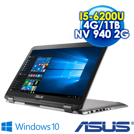 【開學瘋狂購】ASUS TP501UB-0021A6200U 15.6吋FHD 360度翻轉觸控筆電(I5-6200U/4G/1TB/NV 940 2G/Win10)
