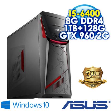 【瘋狂特殺】ASUS G11CB-0021A640GXT(I5-6400/8G DDR4/1TB+128G SSD/GTX960 2G DDR5/DRW/WIN10)電競級桌上型電腦