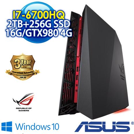 【送無線分享器加防毒】ASUS ROG G20CB-0041A670GXT 電競小桌機(I7-6700/16G-DDR4/256G SSD+2TB/GTX980 4G/DRW/Win10)三年保固到府收送