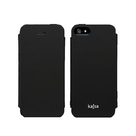 Kajsa Neo-Classic iPhone 5/5s 牛皮側翻皮套(油皮黑)