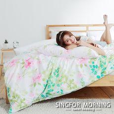 幸福晨光~輕羽飛揚~雙人四件式雲絲絨兩用被床包組