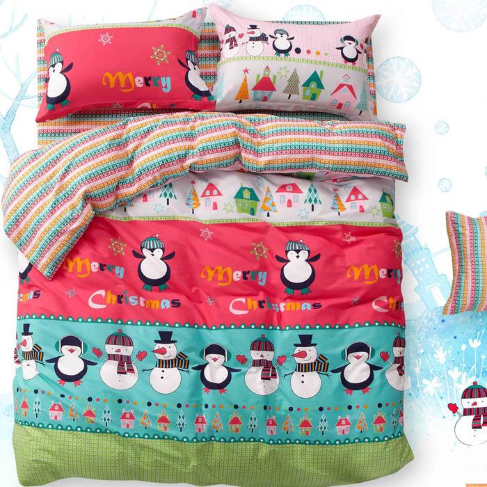 特賣-【FOCA-萌漾雪寶】雙人精梳純棉兩用被床包組(贈同尺寸保潔墊x1)